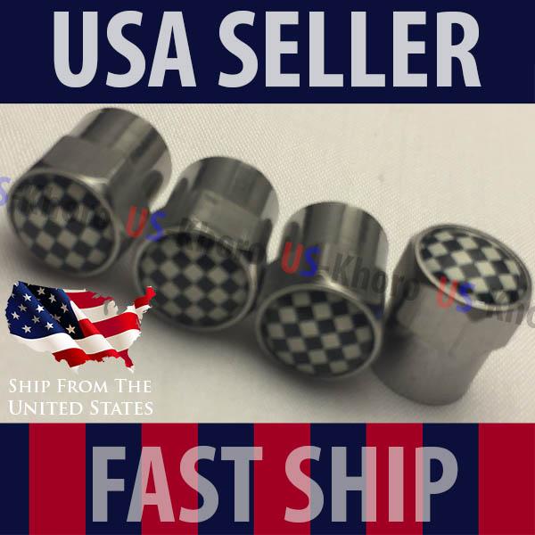 Checkered Flag Racing Tire Rim Wheel Valve Stem Caps Aluminum